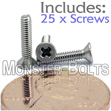 (25) M2-0.4 x 10mm - Phillips Flat Head Machine Screw (Countersunk) Stainless Steel A2/18-8 Cross Recessed Type H Metric DIN 965 - MonsterBolts (25, M2 x 10mm)