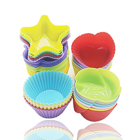 24-Pcs Reusable Silicone Cake Molds Baking Molds Muffin Cups, Nonstick & Heat Resistant baking cups Cupcake baking (Conversion Of Cups To Grams In Baking)