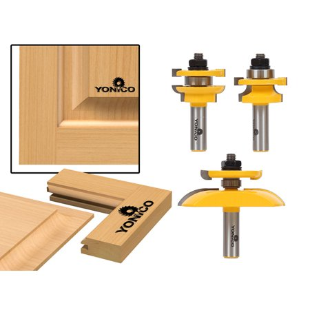 Round Over Rail & Stile with Cove Panel Raiser 3 Bit Router Bit Set-Yonico 12343