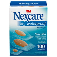 Nexcare Waterproof Assorted Bandages, 100ct
