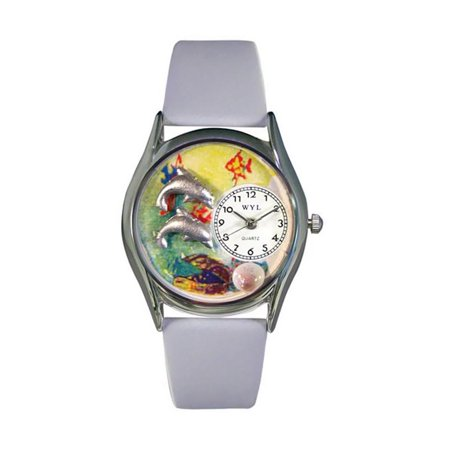 Whimsical Dolphin Navy Blue Leather And Silvertone Watch