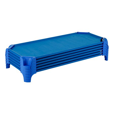 Stackable Cot - Deluxe Blue Stackable Daycare Cot w/ Easy Lift Corners - Standard (52