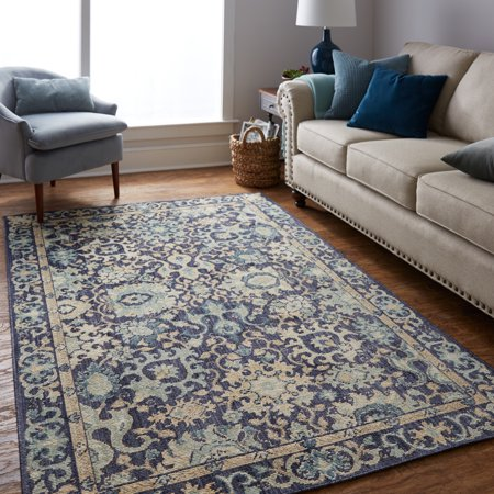 Mohawk Home Heirloom Nen Indigo Traditional Floral Woven Area Rug, 5'x8', Blue Heirloom Traditional Area Rug
