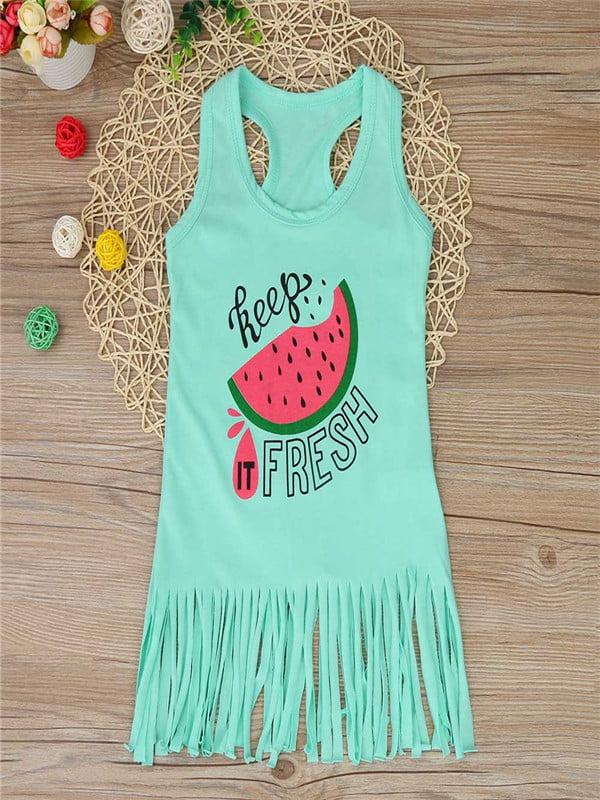5fbd2a98cbd2 Toddler Baby Girls Boys Watermelon Dress Clothes Outfits Tassel Sundress -  Walmart.com