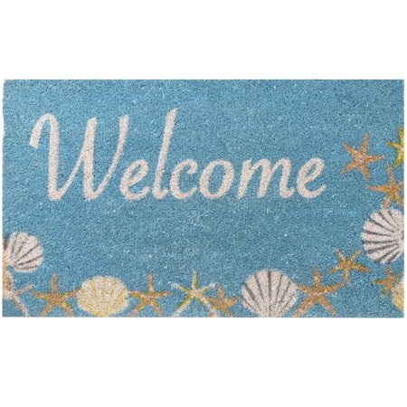 Envelor Home and Garden Nautical Seaside Shells Coir Doormat Coastal Coco Welcome Mat Front Door Mat Non Slip Beach Outdoor Rug Shoes Scraper Outside Entrance Mat Entryway Rug Decor 18 x 30 Inches