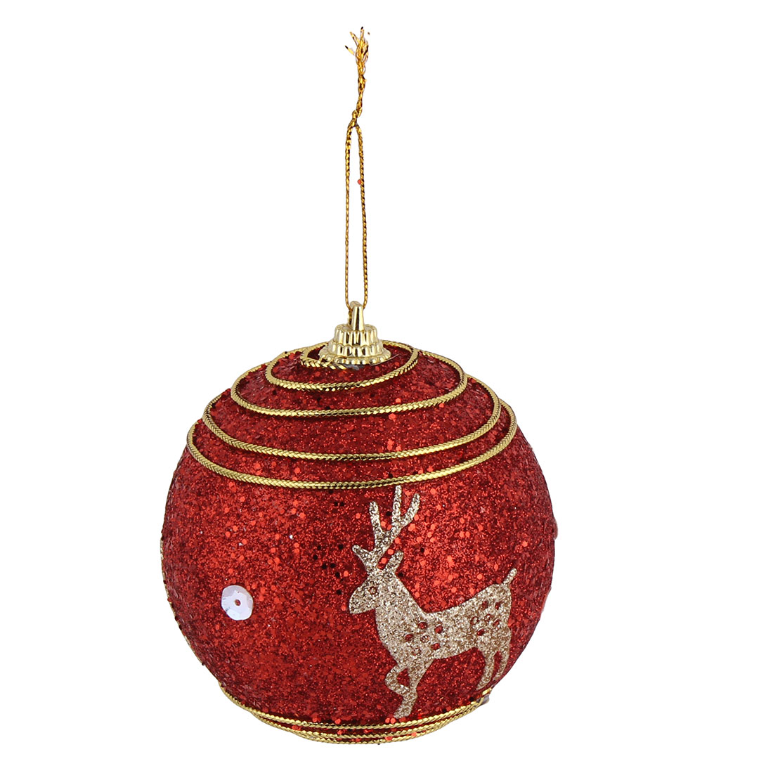 Unique Bargains Christmas Party Deer Pattern Artificial Collectible Hanging Baubles Ball