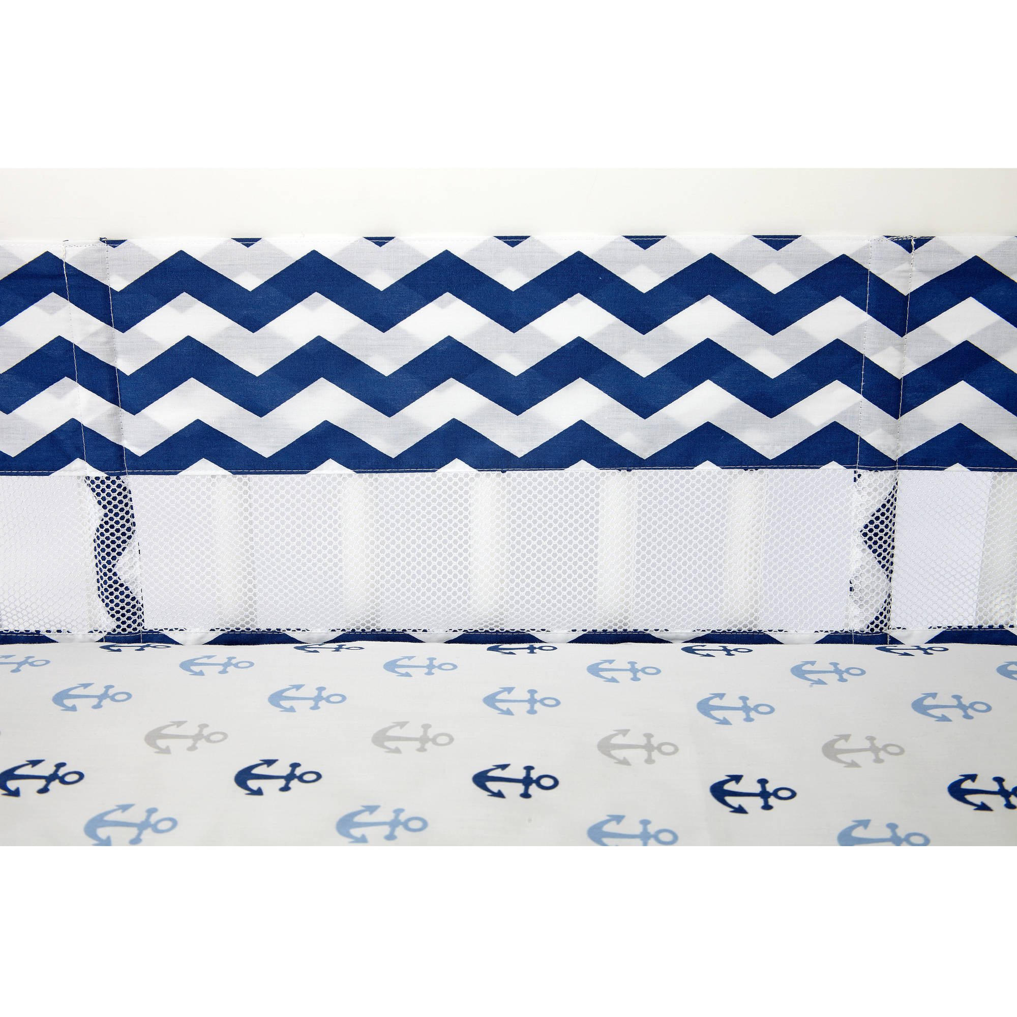 Little Love Secure Me Crib Liner, Navy Chevron Print