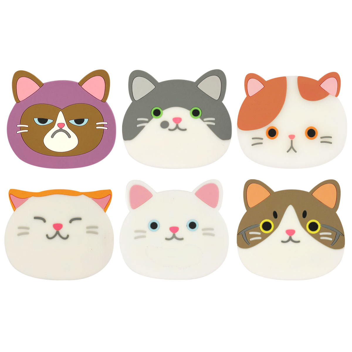 Wrapables Silicone Cute Cat Coasters for Glasses, Cups, and Drinks (Set of 6)