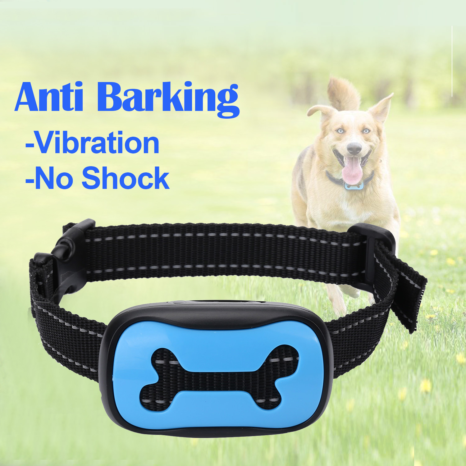 Anti Barking Collar for Dogs, Adjustable No Bark Devices Anti-Bark No Shock Sound and Vibration Collars for Small/Medium/Large Dogs