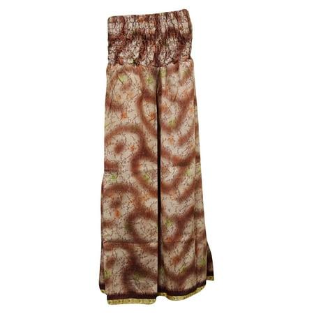 Gypsy Maxi - Mogul Women's Maxi Skirt Gypsy Brown Vintage Silk Sari Divided Long Skirts