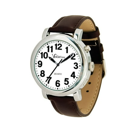 Mens Chrome Talking Watch - Brown Leather Band