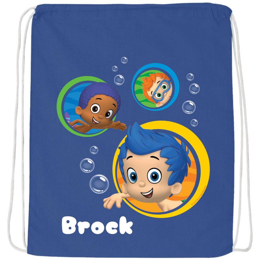 Personalized Bubble Guppies Guppy Buddies Blue Drawstring Bag