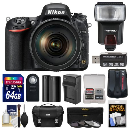 Nikon D750 Digital SLR Camera & 24-120mm f/4 VR Lens with 64GB Card + Battery & Charger + Case + GPS Adapter + Filters + Flash + Kit
