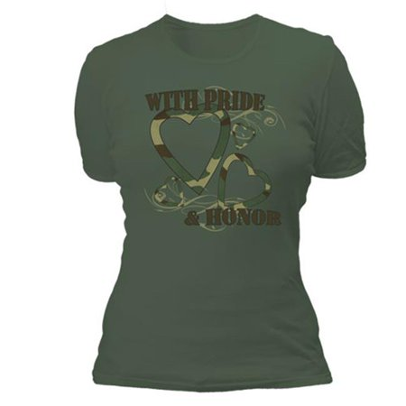 Womens With Pride And Honor Imprint Cotton Tee - Olive Drab, Extra Large