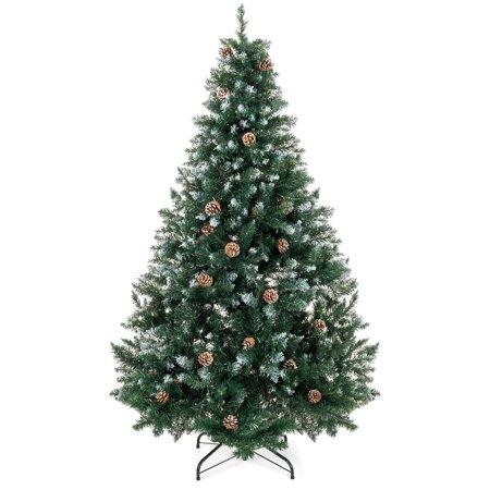Best Choice Products 7ft Hinged Artificial Christmas Tree for Home Living Room Festive Holiday Decoration w/ Snow Flocked Tips, Pine Cones, Metal Stand - Green