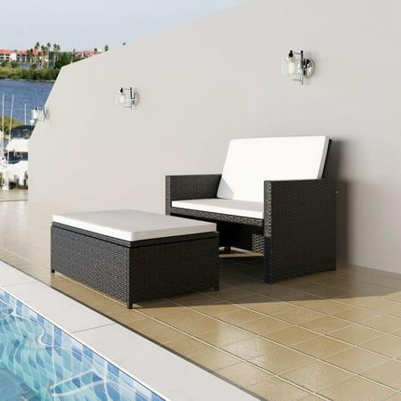 Stupendous Vidaxl 3 In 1 Sofabed Set Folding Rattan Sofa Bed Furniture Black Short Links Chair Design For Home Short Linksinfo