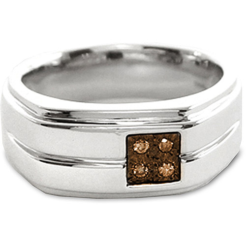 Men's Brown Diamond Accent Sterling Silver Ring
