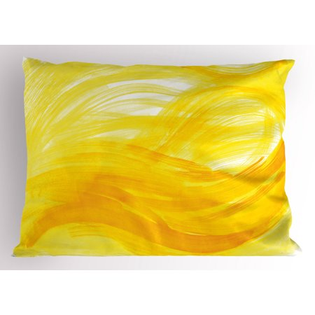 Yellow And White Pillow Sham Painting Style Brushstroke Twist Abstract Artistic Monochrome Wave  Decorative Standard King Size Printed Pillowcase  36 X 20 Inches  Yellow Marigold  By Ambesonne