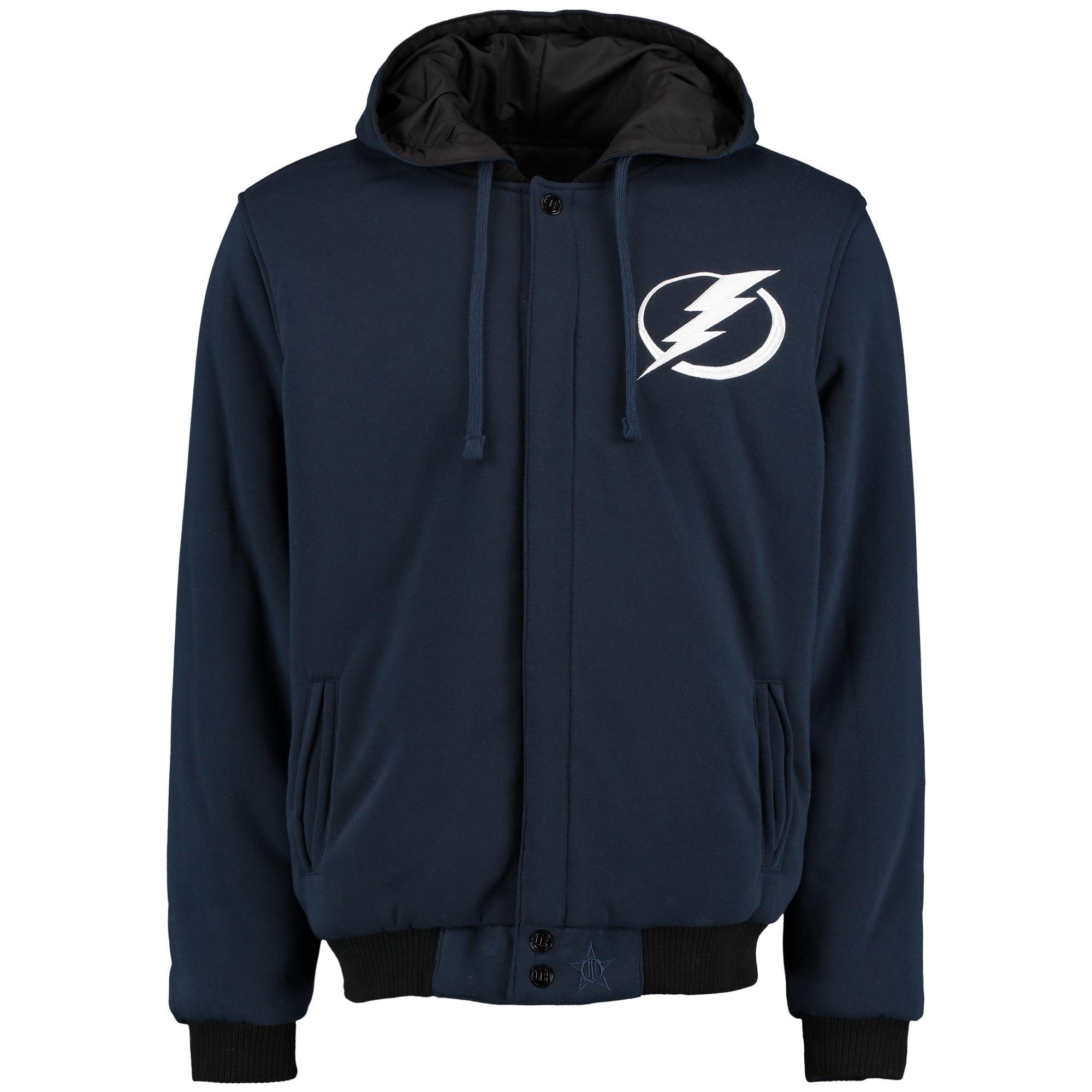 Men's JH Design Navy Tampa Bay Lightning Fleece-Nylon Reversible Jacket by JH Design Group