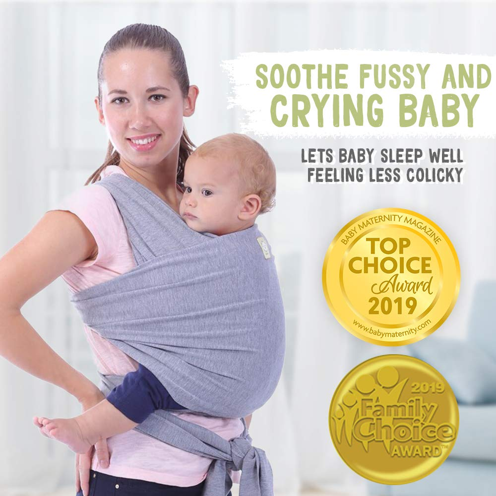 Gray Sling Carrier for Toddler or Newborn Supports 5-35 Lbs Premium Quality Baby Wrap Carrier 0-36 Months Infant Carrier Baby Sling Soft Baby Holder