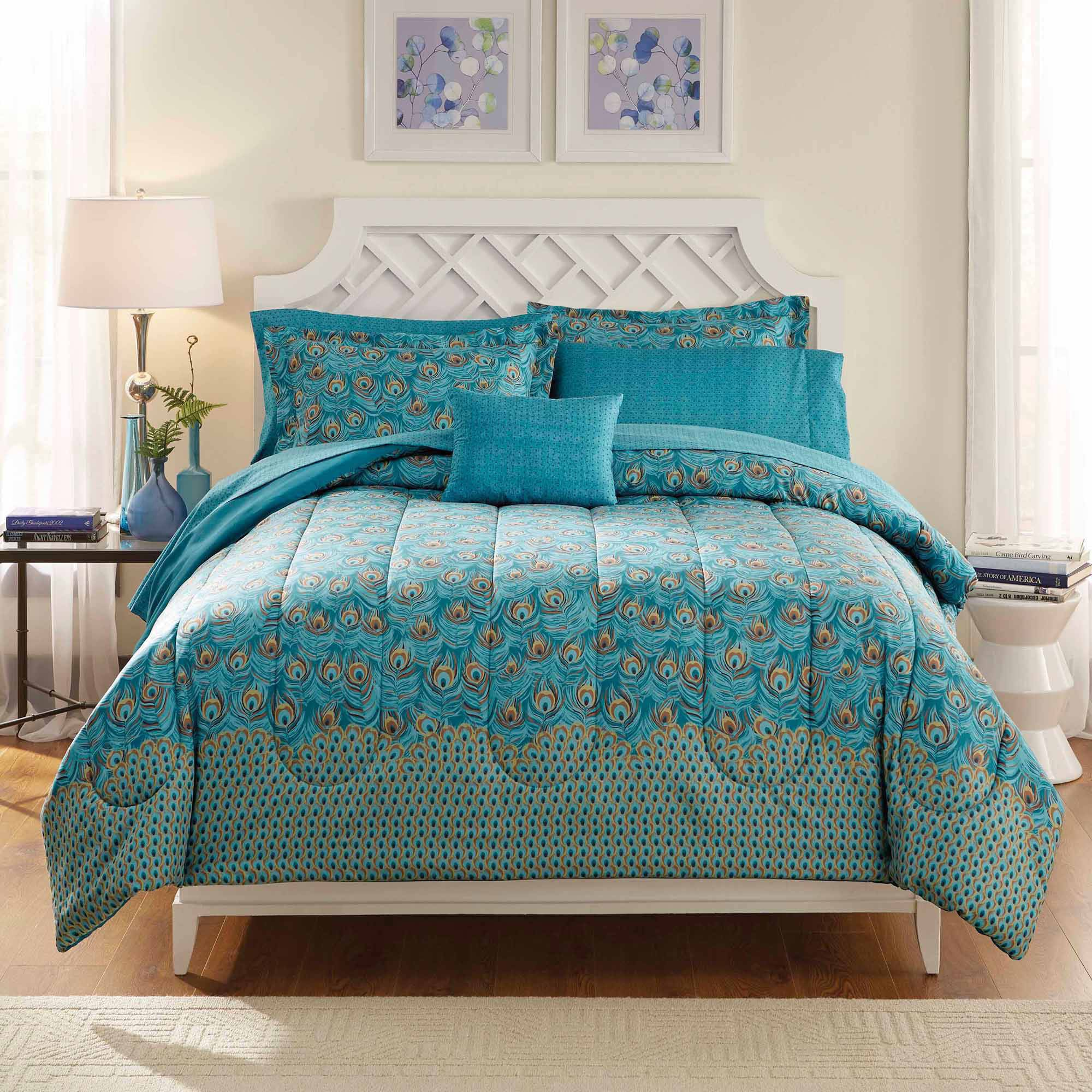 Peacock bedroom set - Mainstays Bed In A Bag Bedding Comforter Set Peacock Feather Walmart Com