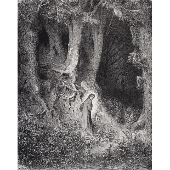 Engraving By Gustave Dore 1832 1883 French Artist Illustrator For Inferno By Dante Alighieri Canto I Lines 1 2 Poster Print 13 X 16