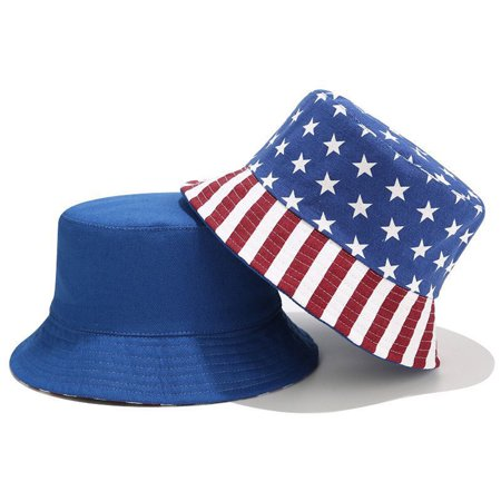 Bucket Hat Reversible American Flag Sun Hat Summer Cap for Outdoors Camping Fishing - image 1 de 9