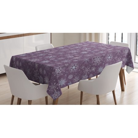 Snowflake Tablecloth, Christmas Themed Floral Arrangement Ornamental Swirls and Curves Winter, Rectangular Table Cover for Dining Room Kitchen, 60 X 90 Inches, Levander Violet, by - Winter Themed Table Decorations