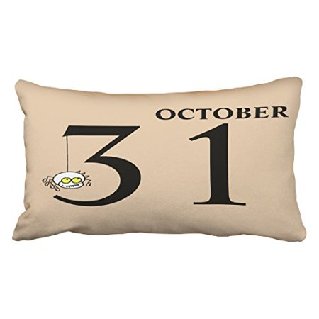 WinHome Fun Happy Halloween October 31st Throw Pillow Covers Cushion Cover Case 20X30 Inches Pillowcases Two Side - 31st October 2017 Halloween