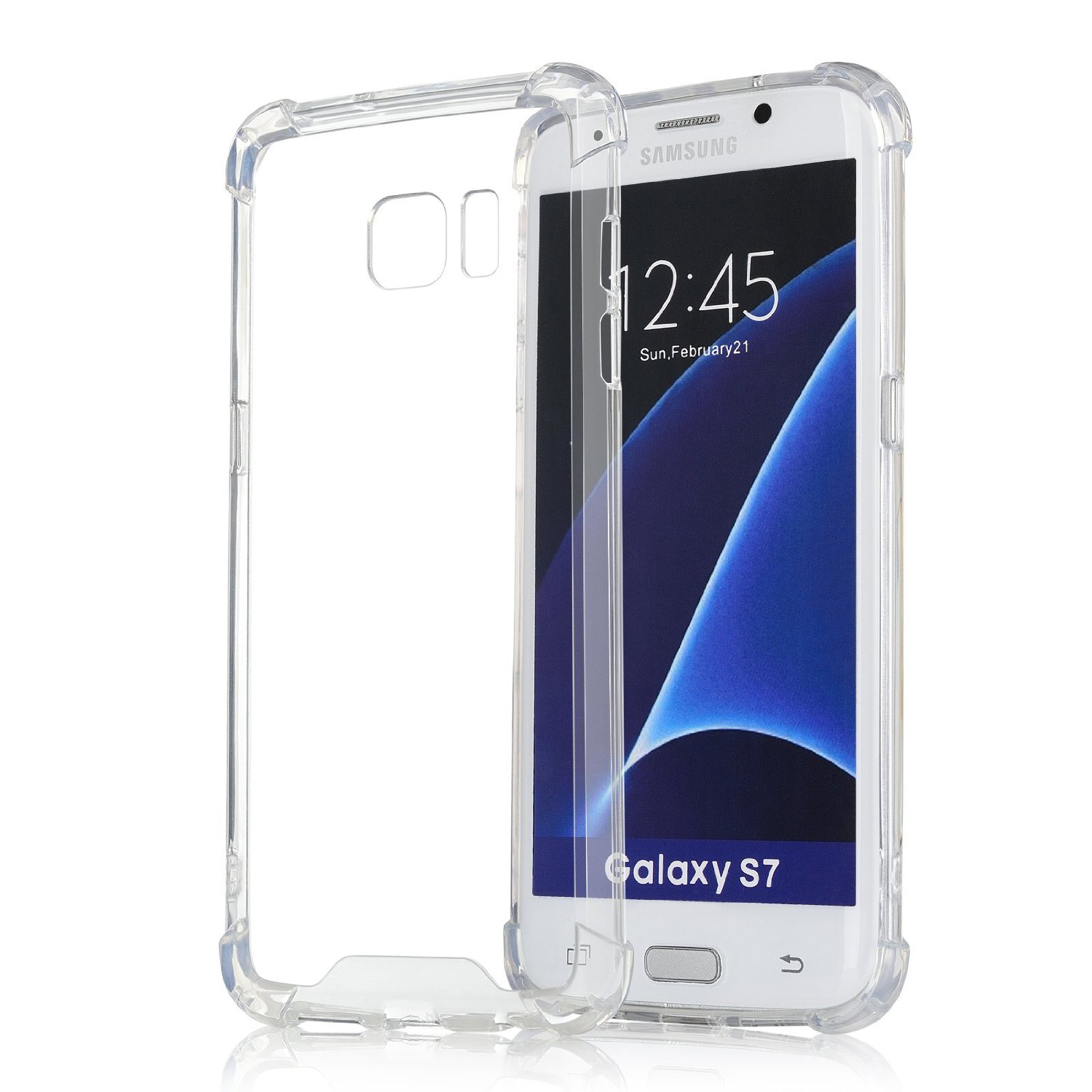Samsung Galaxy S7 Full Body Hybrid TPU Transparent Case Cover
