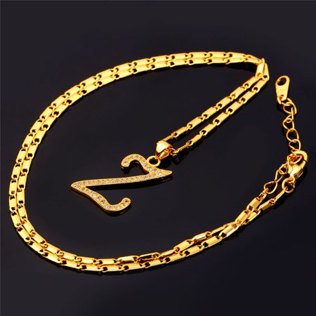 Fashion Jewelry Z Letter Customized Necklace Women Men Gold Plated 26 Alphabet Capital Initial Necklace    Pendant Size 3 0Cm 1 2Inch