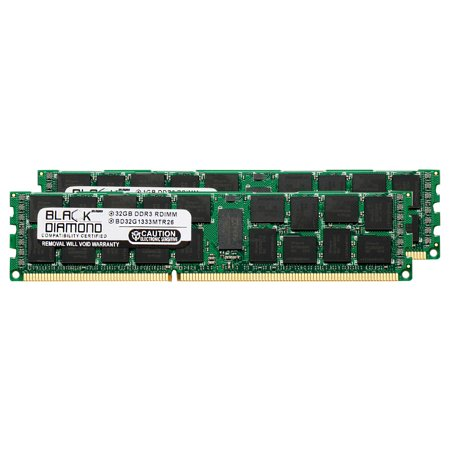 64GB 2X32GB Memory RAM for Compaq ProLiant ML370 G6, SL160s G6, SL160s G6 (626883-B21), SL160s G6 (626884-B21), SL160s G6 (626896-B21) DDR3 ECC Registered RDIMM 240pin PC3-10600 1333MHz Black Diamon