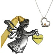 November Birthstone Angel Ornament and Necklace Set