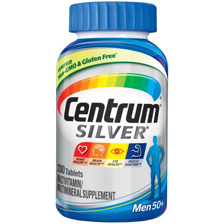 Centrum Silver Men (200 Count) Complete Multivitamin / Multimineral Supplement Tablet, Vitamin D3, B Vitamins, Zinc, Age 50+ Complete Multivitamin Chewable Tablets