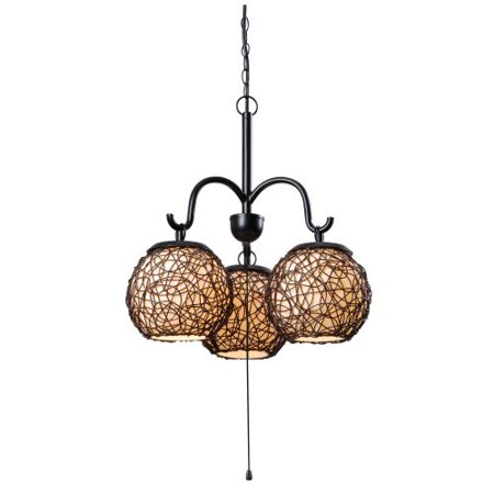 Kenroy Home Mediterranean-Inspired Outdoor 3 Light Chandelier, 21 Inch Diameter, Oil Rubbed Bronze Finish, Cream Acrylic Inner Shades with Rattan Entwined Outer Shades, Woven On/Off Pull Chain Switch