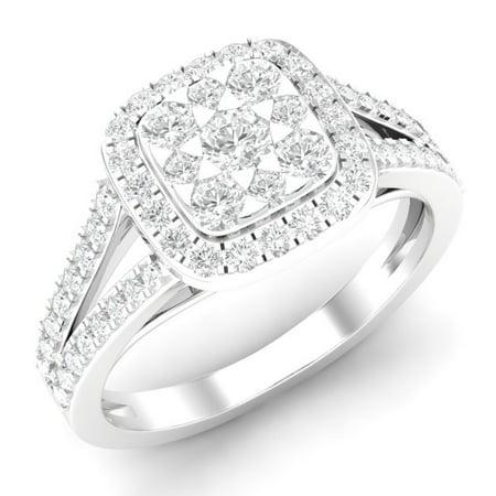 Dazzlingrock Collection 0.95 Carat (ctw) 10K Round White Diamond Ladies Split Shank Engagement Ring 1 CT, White Gold, Size 7.5