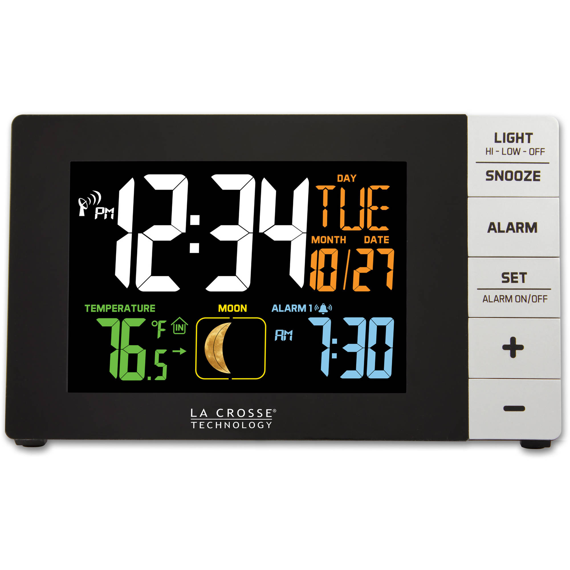 La Crosse Technology Color Alarm Clock with Indoor Temperature and USB Port