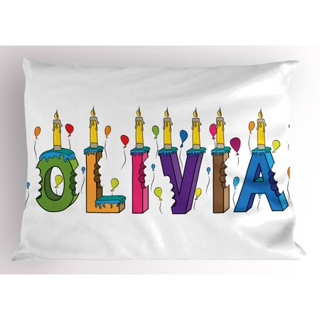 Olivia Pillow Sham Colorful Balloons with Cartoon Style Composition Letter Cake Girl Name Illustration, Decorative Standard Queen Size Printed Pillowcase, 30 X 20 Inches, Multicolor, by Ambesonne