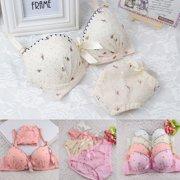 Women Underwire Bra Set Lace Push-up Bra + Knicker Underwear Lingerie 32-36B