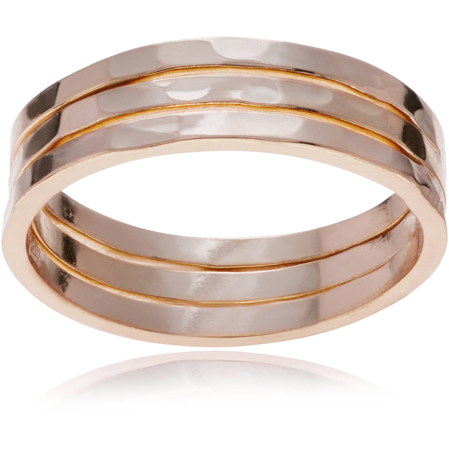 Brinley Co. Women's Sterling Silver Trio Hammered Fashion Ring Set, 3 Rings, Rose Gold