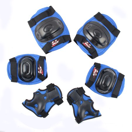 Adult Roller Blading Skating Wrist Elbow Knee Protective Support Blue 6 in 1