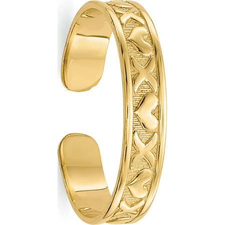 14k Yellow Gold X & Hearts Toe Ring 14k Designer Toe Ring