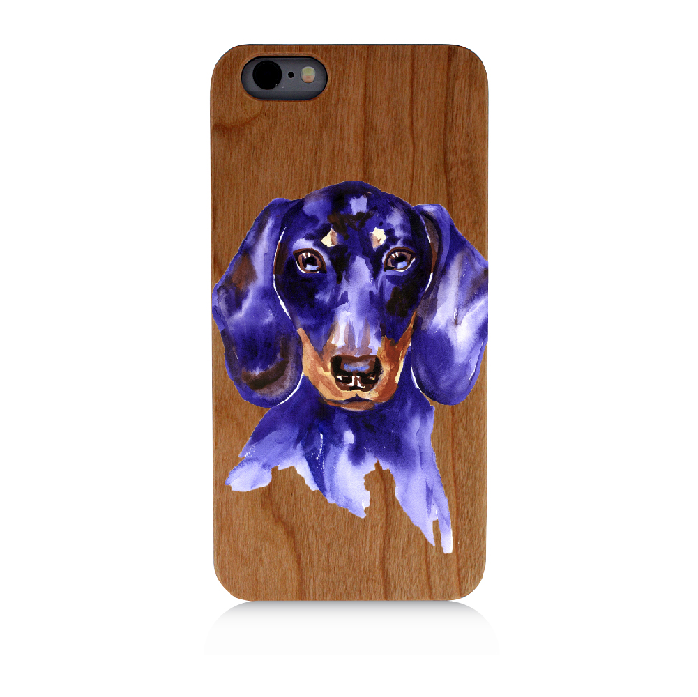 Purple Paint Dachshund Breed Dog | High Quality UV Printed Real Cherry Wood Cellphone Case Natural Protection PC Rubberized Corners For iPhone 5C
