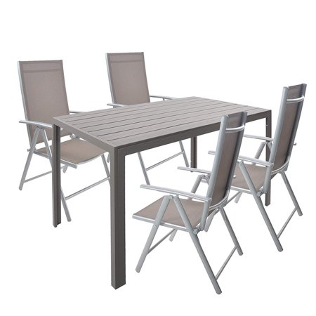 Aluminum Porch Frame - KARMAS PRODUCT 5 Piece Patio Dining Set Aluminum Rectangle Table and 4 Folding Reclining Chairs Outdoor Patio Furniture Set for Backyard Porch Poolside