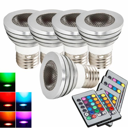 Ktaxon [5 PACK]  RGB LED Light Bulb With Remote Control, 5W, 400LM, E27 Medium Base, Color Changing, Perfect for Birthday Party / KTV Decoration / Home Use / Bar / Wedding ()