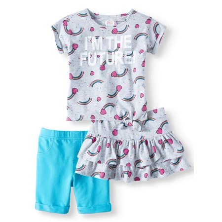 Outfits For Kids (Side-Tie Top, Bermuda Short & Skort, 3-Piece Mix and Match Outfit Set (Little Girls & Big)
