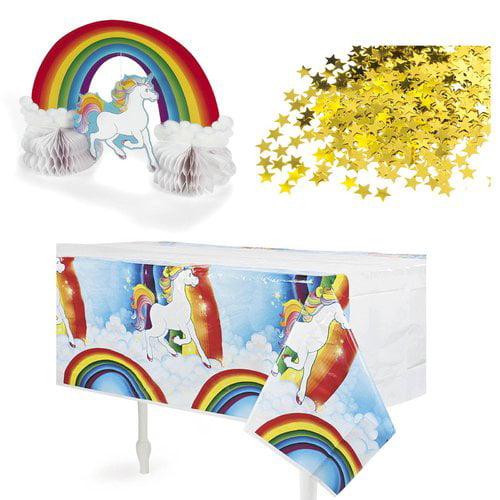 NA 3 Piece Fairytale Unicorn Table Decoration Plastic Disposable Centerpiece Set