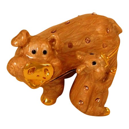 Mother and Baby Pig Piggy Pigs Piglet Jeweled Enameled Hinged Trinket Box