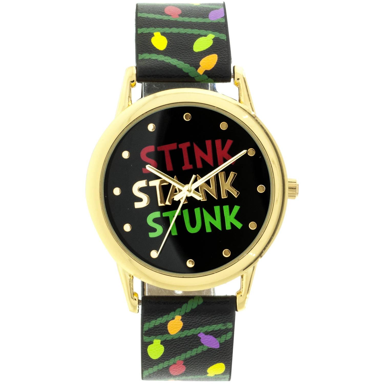 """Stink Stank Stunk"" Round Gold Ugly Christmas Watch,Black Strap"