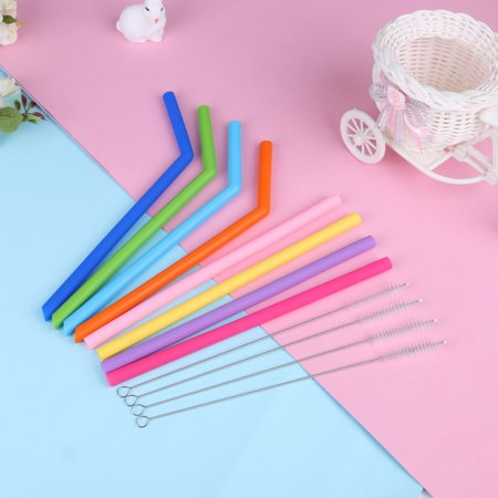 Reusable Food Grade Silicone Drinking Big Straws Set with Cleaning - Big Straws